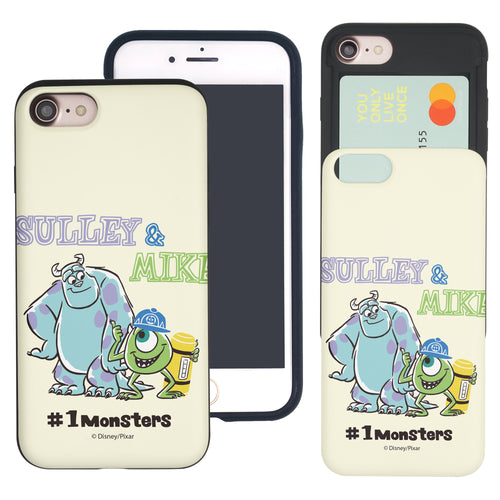 iPhone 8 Plus / iPhone 7 Plus Case Monsters University inc Slim Slider Card Slot Dual Layer Holder Bumper Cover - Cartoon 1 Monsters