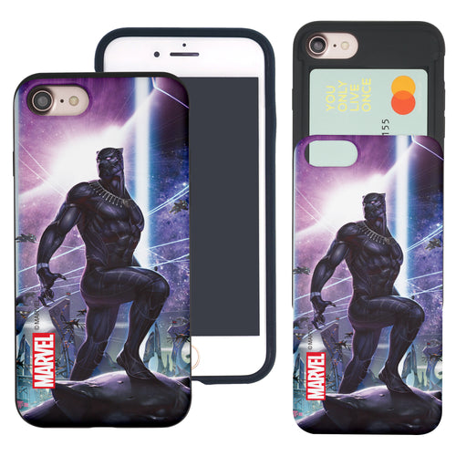 iPhone 8 Plus / iPhone 7 Plus Case Marvel Avengers Slim Slider Card Slot Dual Layer Holder Bumper Cover - Black Panther Stand