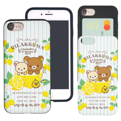 iPhone SE 2020 / iPhone 8 / iPhone 7 Case (4.7inch) Rilakkuma Slim Slider Card Slot Dual Layer Holder Bumper Cover - Rilakkuma Lemon