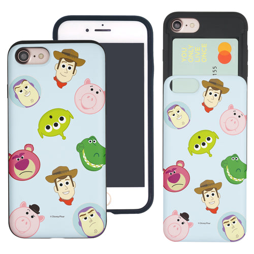 iPhone 8 Plus / iPhone 7 Plus Case Toy Story Slim Slider Card Slot Dual Layer Holder Bumper Cover - Pattern Face