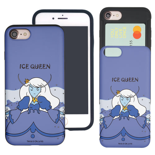iPhone 8 Plus / iPhone 7 Plus Case Adventure Time Slim Slider Card Slot Dual Layer Holder Bumper Cover - Lovely Ice Queen