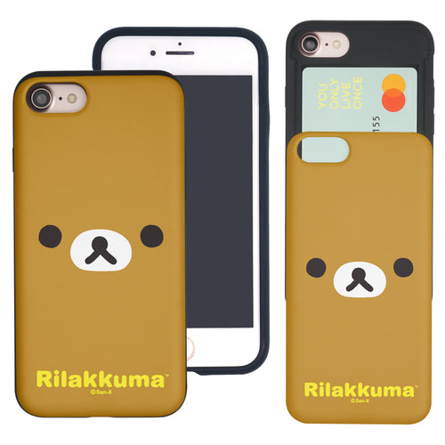iPhone SE 2020 / iPhone 8 / iPhone 7 Case (4.7inch) Rilakkuma Slim Slider Card Slot Dual Layer Holder Bumper Cover - Face Rilakkuma