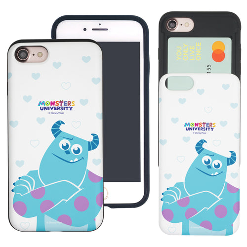 iPhone 8 Plus / iPhone 7 Plus Case Monsters University inc Slim Slider Card Slot Dual Layer Holder Bumper Cover - Full Sulley