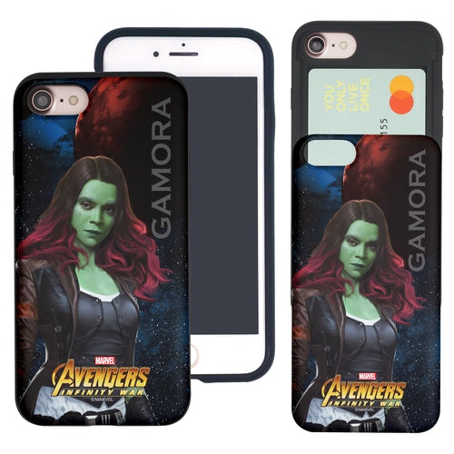 iPhone 8 Plus / iPhone 7 Plus Case Marvel Avengers Slim Slider Card Slot Dual Layer Holder Bumper Cover - Infinity War Gamora