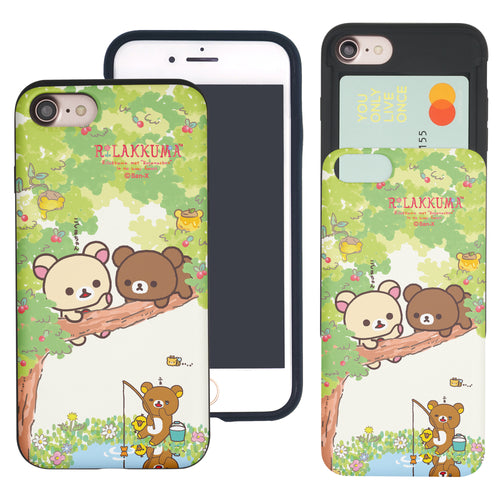 iPhone SE 2020 / iPhone 8 / iPhone 7 Case (4.7inch) Rilakkuma Slim Slider Card Slot Dual Layer Holder Bumper Cover - Rilakkuma Forest