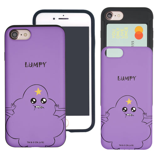 iPhone 8 Plus / iPhone 7 Plus Case Adventure Time Slim Slider Card Slot Dual Layer Holder Bumper Cover - Lovely Lumpy