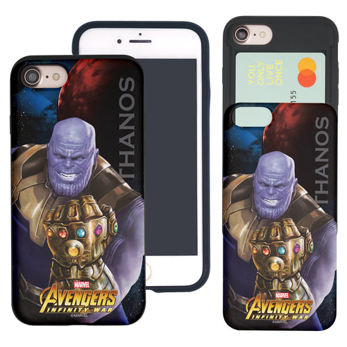 iPhone 8 Plus / iPhone 7 Plus Case Marvel Avengers Slim Slider Card Slot Dual Layer Holder Bumper Cover - Infinity War Thanos
