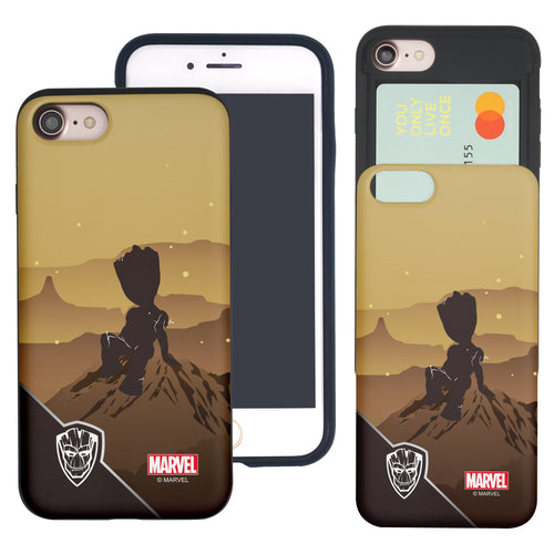 iPhone 8 Plus / iPhone 7 Plus Case Marvel Avengers Slim Slider Card Slot Dual Layer Holder Bumper Cover - Shadow Groot