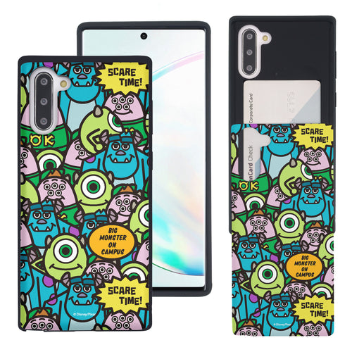 Galaxy Note10 Case (6.3inch) Monsters University inc Slim Slider Card Slot Dual Layer Holder Bumper Cover - Pattern Face