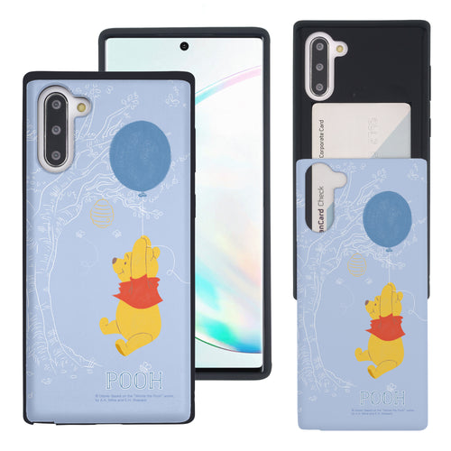 Galaxy Note10 Plus Case (6.8inch) Disney Pooh Slim Slider Card Slot Dual Layer Holder Bumper Cover - Balloon Pooh Sky