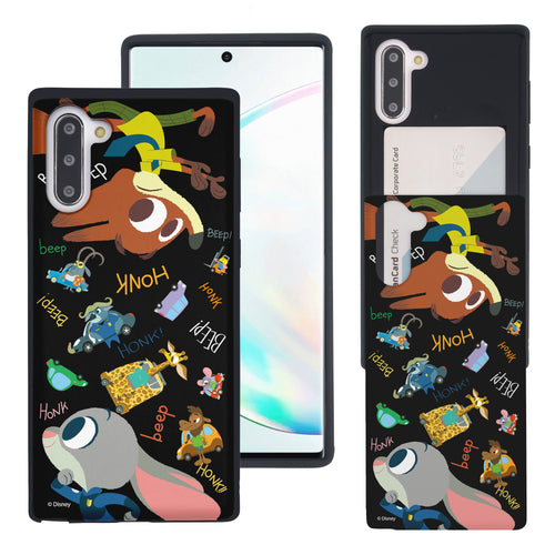 Galaxy Note10 Plus Case (6.8inch) Disney Zootopia Dual Layer Card Slide Slot Wallet Bumper Cover - Zootopia Black