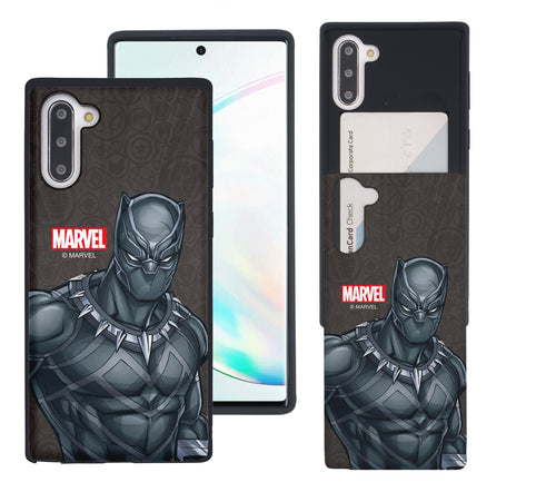 Galaxy Note10 Plus Case (6.8inch) Marvel Avengers Slim Slider Card Slot Dual Layer Holder Bumper Cover - Illustration Black Panther