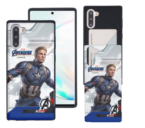 Galaxy Note10 Case (6.3inch) Marvel Avengers Slim Slider Card Slot Dual Layer Holder Bumper Cover - End Game Captain America