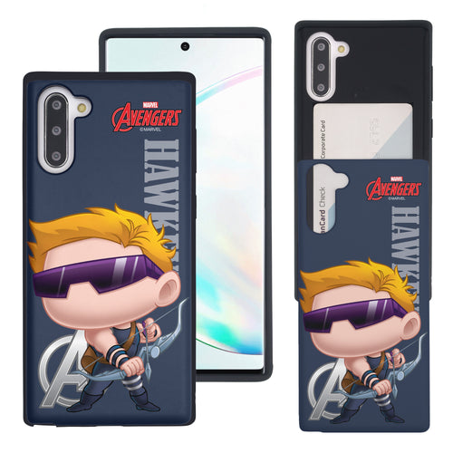 Galaxy Note10 Plus Case (6.8inch) Marvel Avengers Slim Slider Card Slot Dual Layer Holder Bumper Cover - Mini Hawkeye