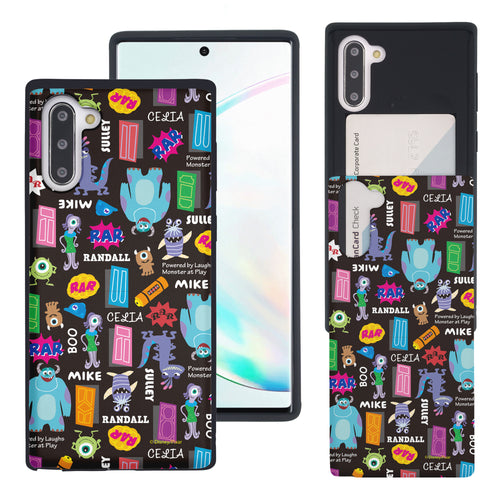 Galaxy Note10 Case (6.3inch) Monsters University inc Slim Slider Card Slot Dual Layer Holder Bumper Cover - Pattern Name Black