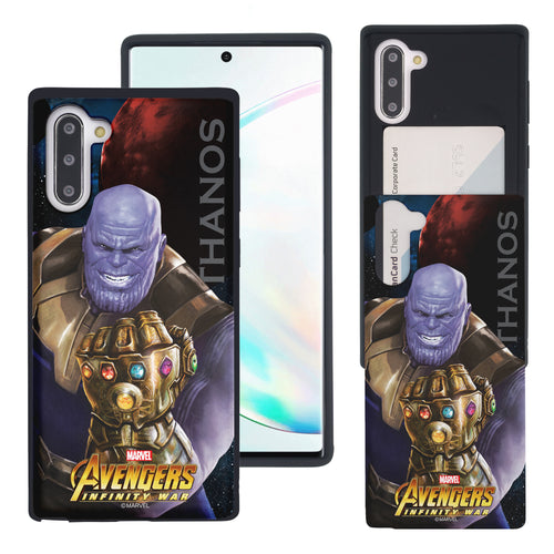 Galaxy Note10 Plus Case (6.8inch) Marvel Avengers Slim Slider Card Slot Dual Layer Holder Bumper Cover - Infinity War Thanos