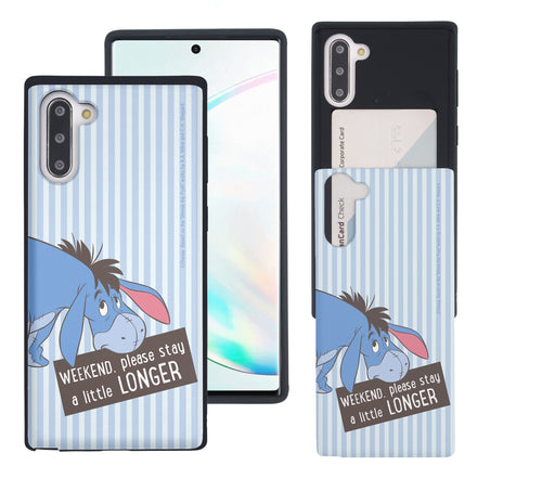 Galaxy Note10 Plus Case (6.8inch) Disney Pooh Slim Slider Card Slot Dual Layer Holder Bumper Cover - Words Eeyore Stripe