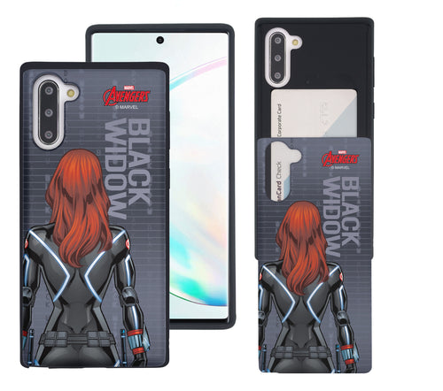 Galaxy Note10 Plus Case (6.8inch) Marvel Avengers Slim Slider Card Slot Dual Layer Holder Bumper Cover - Back Black Widow
