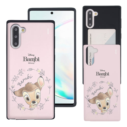 Galaxy Note10 Plus Case (6.8inch) Disney Bambi Slim Slider Card Slot Dual Layer Holder Bumper Cover - Face Bambi