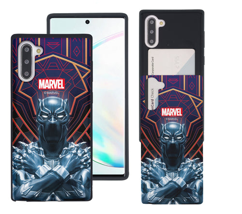 Galaxy Note10 Plus Case (6.8inch) Marvel Avengers Slim Slider Card Slot Dual Layer Holder Bumper Cover - Black Panther Face Lines