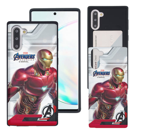 Galaxy Note10 Case (6.3inch) Marvel Avengers Slim Slider Card Slot Dual Layer Holder Bumper Cover - End Game Iron Man
