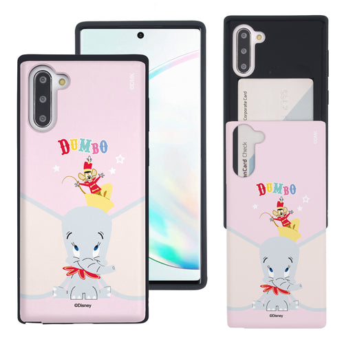 Galaxy Note10 Plus Case (6.8inch) Disney Dumbo Slim Slider Card Slot Dual Layer Holder Bumper Cover - Dumbo Overhead
