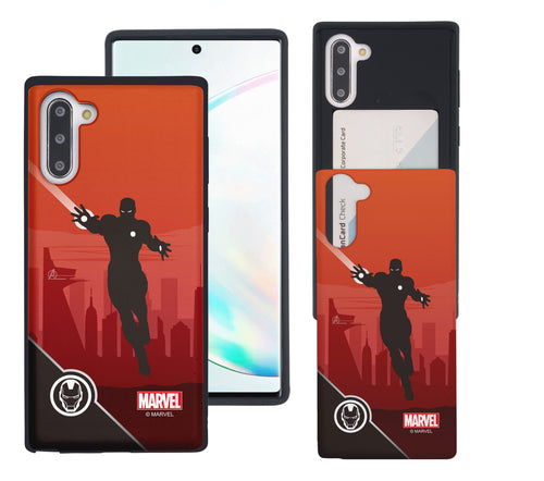 Galaxy Note10 Case (6.3inch) Marvel Avengers Slim Slider Card Slot Dual Layer Holder Bumper Cover - Shadow Iron Man