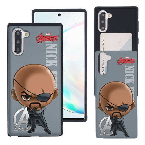 Galaxy Note10 Plus Case (6.8inch) Marvel Avengers Slim Slider Card Slot Dual Layer Holder Bumper Cover - Mini Nick Fury