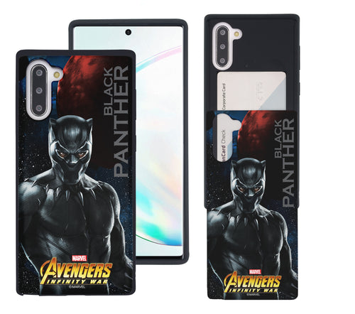 Galaxy Note10 Plus Case (6.8inch) Marvel Avengers Slim Slider Card Slot Dual Layer Holder Bumper Cover - Infinity War Black Panther