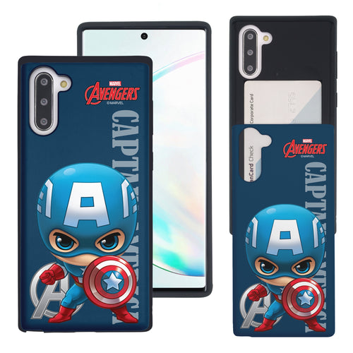 Galaxy Note10 Plus Case (6.8inch) Marvel Avengers Slim Slider Card Slot Dual Layer Holder Bumper Cover - Mini Captain America