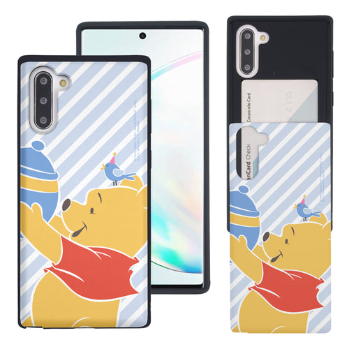 Galaxy Note10 Plus Case (6.8inch) Disney Pooh Slim Slider Card Slot Dual Layer Holder Bumper Cover - Stripe Pooh Bird