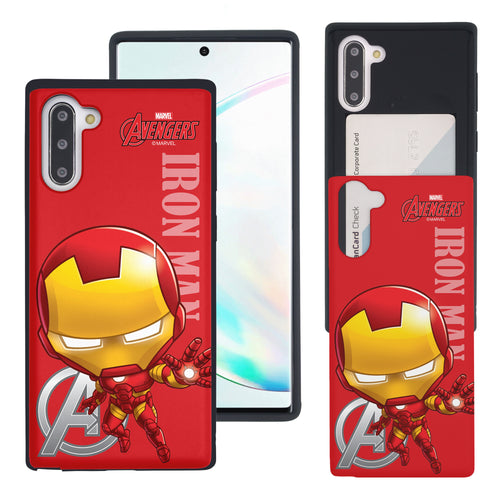 Galaxy Note10 Case (6.3inch) Marvel Avengers Slim Slider Card Slot Dual Layer Holder Bumper Cover - Mini Iron Man