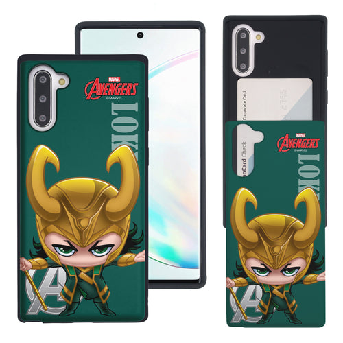 Galaxy Note10 Plus Case (6.8inch) Marvel Avengers Slim Slider Card Slot Dual Layer Holder Bumper Cover - Mini Loki