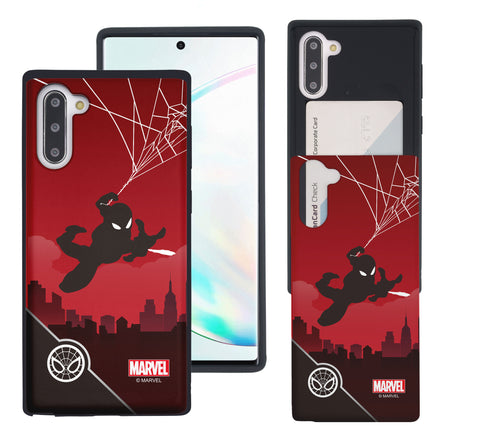 Galaxy Note10 Plus Case (6.8inch) Marvel Avengers Slim Slider Card Slot Dual Layer Holder Bumper Cover - Shadow Spider Man