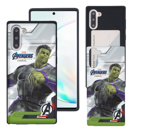 Galaxy Note10 Plus Case (6.8inch) Marvel Avengers Slim Slider Card Slot Dual Layer Holder Bumper Cover - End Game Hulk