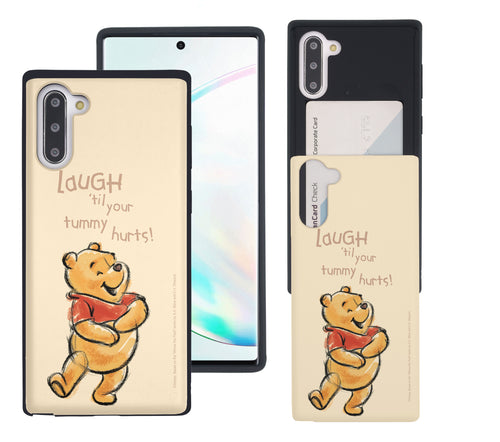 Galaxy Note10 Plus Case (6.8inch) Disney Pooh Slim Slider Card Slot Dual Layer Holder Bumper Cover - Words Pooh Laugh