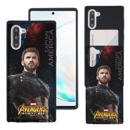 Galaxy Note10 Plus Case (6.8inch) Marvel Avengers Slim Slider Card Slot Dual Layer Holder Bumper Cover - Infinity War Captain America