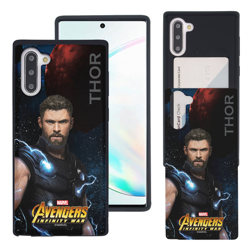 Galaxy Note10 Plus Case (6.8inch) Marvel Avengers Slim Slider Card Slot Dual Layer Holder Bumper Cover - Infinity War Thor