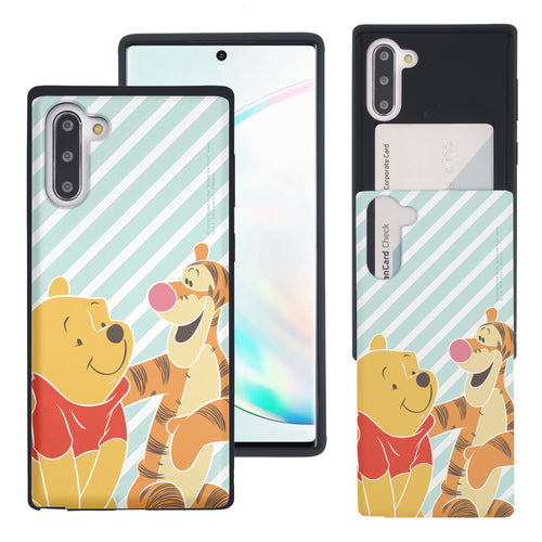 Galaxy Note10 Plus Case (6.8inch) Disney Pooh Slim Slider Card Slot Dual Layer Holder Bumper Cover - Stripe Pooh Tigger
