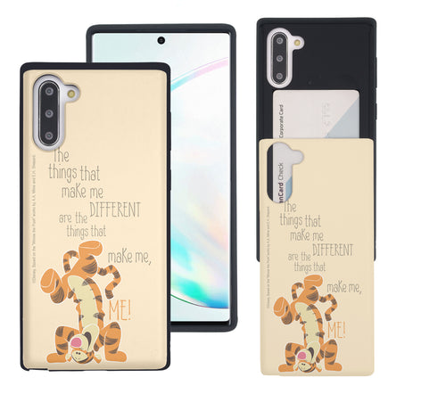 Galaxy Note10 Plus Case (6.8inch) Disney Pooh Slim Slider Card Slot Dual Layer Holder Bumper Cover - Words Tigger