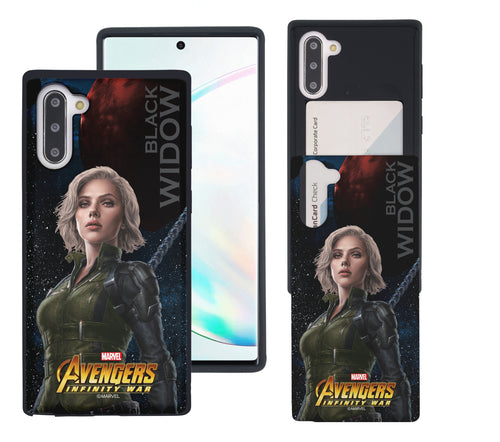 Galaxy Note10 Plus Case (6.8inch) Marvel Avengers Slim Slider Card Slot Dual Layer Holder Bumper Cover - Infinity War Black Widow