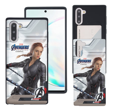 Galaxy Note10 Plus Case (6.8inch) Marvel Avengers Slim Slider Card Slot Dual Layer Holder Bumper Cover - End Game Black Widow