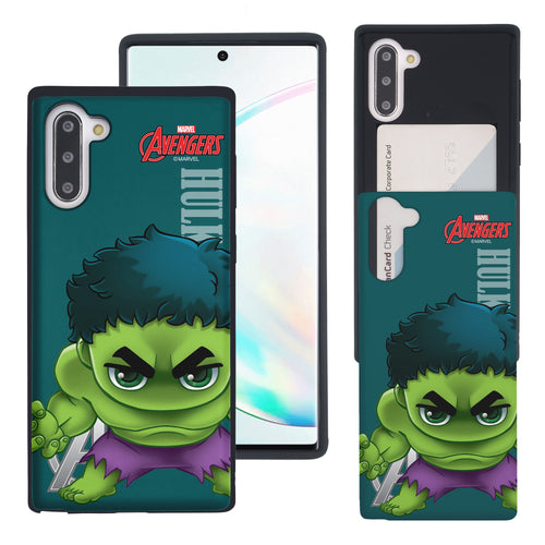 Galaxy Note10 Plus Case (6.8inch) Marvel Avengers Slim Slider Card Slot Dual Layer Holder Bumper Cover - Mini Hulk