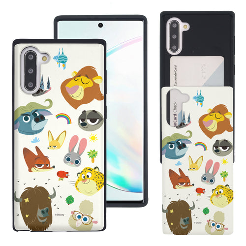 Galaxy Note10 Plus Case (6.8inch) Disney Zootopia Dual Layer Card Slide Slot Wallet Bumper Cover - Zootopia Small