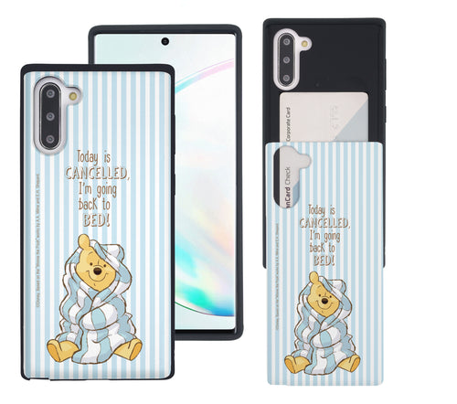 Galaxy Note10 Plus Case (6.8inch) Disney Pooh Slim Slider Card Slot Dual Layer Holder Bumper Cover - Words Pooh Stripe