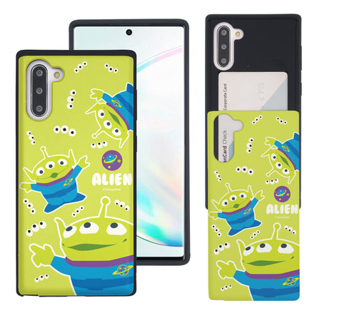 Galaxy Note10 Case (6.3inch) Toy Story Slim Slider Card Slot Dual Layer Holder Bumper Cover - Pattern Alien Eyes