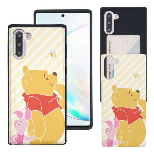 Galaxy Note10 Plus Case (6.8inch) Disney Pooh Slim Slider Card Slot Dual Layer Holder Bumper Cover - Stripe Pooh Bee