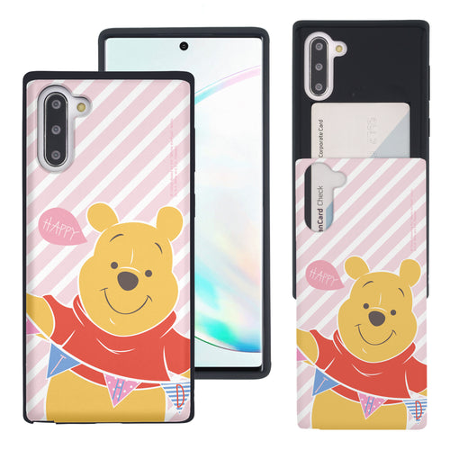 Galaxy Note10 Plus Case (6.8inch) Disney Pooh Slim Slider Card Slot Dual Layer Holder Bumper Cover - Stripe Pooh Happy