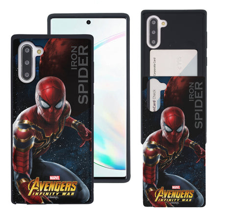 Galaxy Note10 Plus Case (6.8inch) Marvel Avengers Slim Slider Card Slot Dual Layer Holder Bumper Cover - Infinity War Spider Man