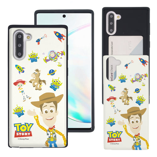Galaxy Note10 Case (6.3inch) Toy Story Slim Slider Card Slot Dual Layer Holder Bumper Cover - Pattern Woody